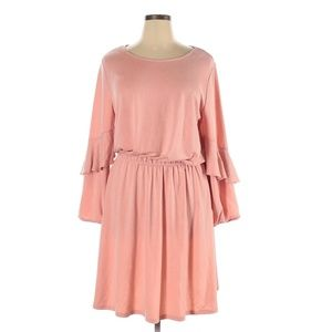 H Halston Pink Knit Ruffle Long Sleeve Dress